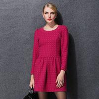 2014 Winter Long Sleeve Woolen Sundress Formal Dress for Women Club Party Evening Beautiful Dress Big Size 5XL Sex Stage Wear