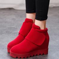 Autumn and winter new arrival elevator vintage all-match platform wedges platform boots velcro female shoes