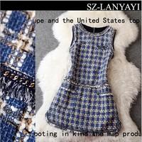 Women Woolen Dress 2014 Autumn And Winter Fashion Small Plaid Tweed Fabric Slim Tank Dress