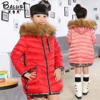 High End!2014 Winter Luxury Large Fur Collar Children Girls Kids Hooded Down Jacket Fashion Trends Thicken Parkas Coat Outerwear