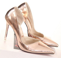 Fashion 2014 shoes high-heeled shoes pointed toe thin heels shoes gold silver shallow mouth pointed toe single shoes