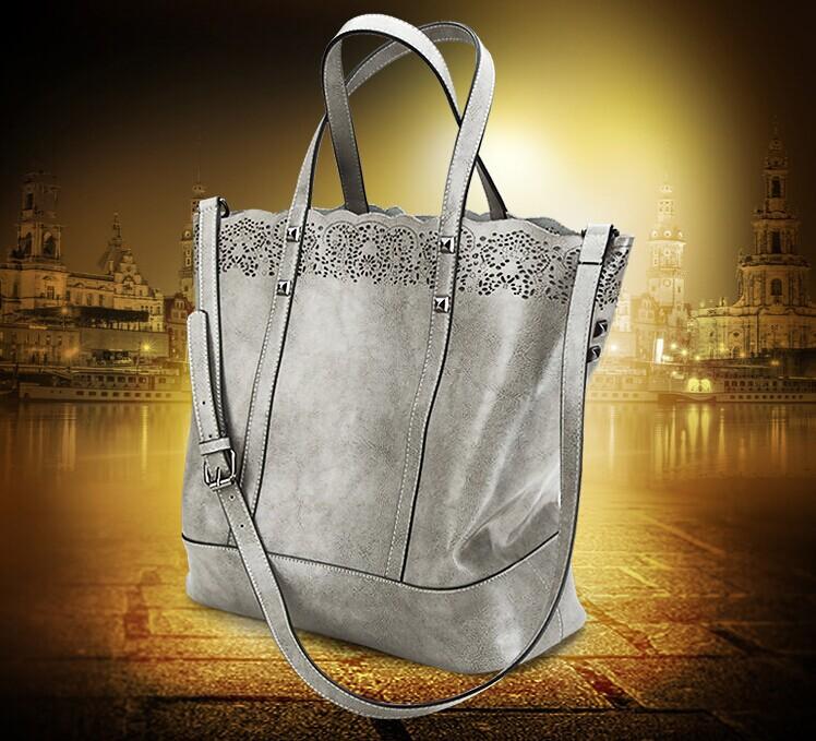 Buy 1 Get 2! 2015 France style retro vintage genuine leather bag hollow out women bag carved composite bag fashion women handbag(China (Mainland))
