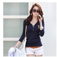 2014 women's spring autumn V-neck embroidery Logo long-sleeve T-shirt basic shirt ladies fashion T shirt size S-XXL