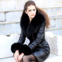 Luxury 2014 Womens Fox Large Fur Collar Genuine Sheepskin Leather Down Jacket & Coat Medium-long Black S Bow Belt W1410121225