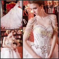 2014 Royal princess romantic only beautiful luxury the crystal bandage tube top train wedding dress bride  princess wedding