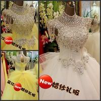 Luxurious crystal dress the bride wedding royal princess 2014 bandage tube top train wedding dress bride free shipping