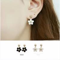 Fashion accessories little daisy rivet black and white flower metal neckband dual stud earring earrings