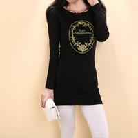T-shirt female summer short-sleeve 2014 medium-long slim plus size clothing clothes basic shirt