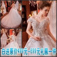 2014 Luxury honourable wedding dress the crystal sparkling sexy wedding dress bandage train wedding dress bride free shipping