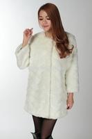 2014 fashion soft collarless faux fur women's medium-long outerwear