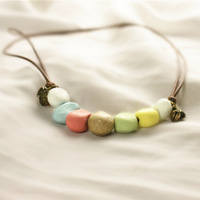 Handmade clay multicolour necklace small fresh jewelry accessories honey gift necklace chain female