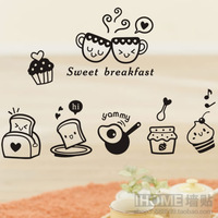 Free Shipping Wall Stickers Breakfast Restaurant Dining Table Sticker Pastry Wall Kitchen Cabinet Decoration
