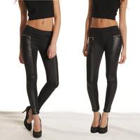 2014 New Fashion Leggings Women Pants Trousers Elastic Waist Stretchy Skinny Black Leather Look Panels Leggings LJ039YQ