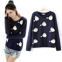 Fashion women's sweater fashion cartoon little penguin pullover sweater