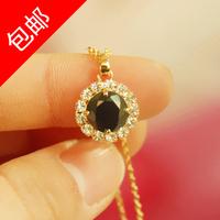 Elegant vintage black crystal zircon rhinestone female fashion short design necklace chain necklace