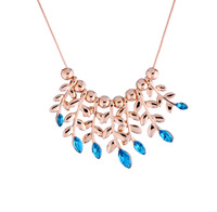 X0249 Fashion gold plated blue crystal leaf pendant short necklace for Elegant Women Free Shipping