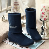 color4 round toe decoration boots for women  female medium-leg draw folding boots plush boots small  big size cheap price us2-16