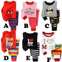 freeshipping!autumn children clothing boys girls i love papa mama cartoon pajamas child sleeping long-sleeve set  5set/lot