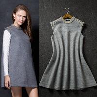 New arrival 2014 autumn and winter fashion women's handmade beading woolen expansion bottom sleeveless one-piece dress