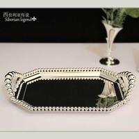 Silveriness 3127 fashion iron beads pallet rectangular fruit tray cake pan