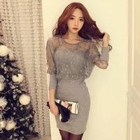 2014 autumn women's faux two piece lace patchwork sexy slim hip  slim one-piece dress