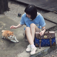 2014 qiudong autumn and winter preppy style vintage messenger canvas female bag messenger bag small fresh 1266