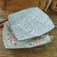 Creative ancient Japanese-style tableware dish 8-inch Fang Panzi underglaze color ceramic sushi plate