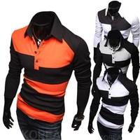 2014 New fashion men's slim fit long sleeve polo shirt slim fit camisas masculinas polos 4 colors M L XL XXL