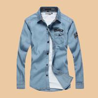 2014 autumn male denim long-sleeve shirt slim casual denim shirt men's clothing