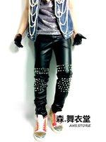 High quality Male Slim Ds Intensive Rivet PU Leather Pants men's fashion black pant costume