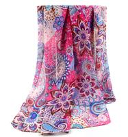 Spring and autumn silk scarf women's chiffon long scarf large cape velvet chiffon
