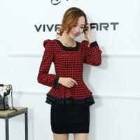 Women long-sleeve shirt slim o-neck houndstooth patchwork shirt female autumn fashion