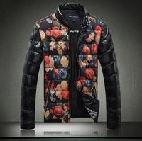 Man winter flower print stand collar PU male plus size plus size male down  jacket coat