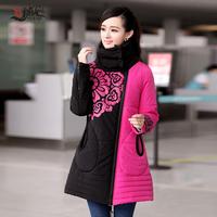 2014 women's cotton-padded jacket medium-long slim wadded jacket outerwear national trend plus size A - shaped type wadded