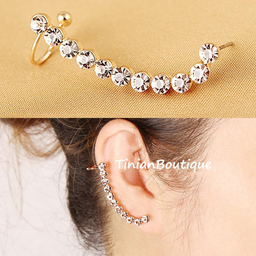 Hot New Fashion Ear Cuff Charming Personality Curviplanars Rhinestone Clip Earrings For Women Free Shipping(China (Mainland))