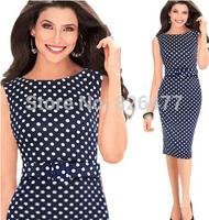 New arrivals Fashion elegant round polka dot dress sleeveless slim o-neck plus size women clothing with the same color belt