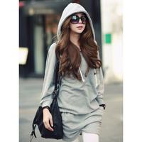Women double pocket with a hood sweatshirt plus size clothing fashion lady sweatshirts dress girl shirts free shipping