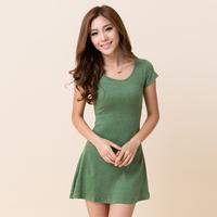 Plus size women's clothing 2014 lady summer cotton short-sleeve slim clothing size one-piece dress simple elegant free shipping