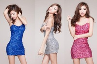 Free shipping womens sexy Spaghetti straps  slim pailletted dress blue hot pink siver