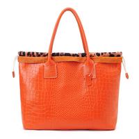 Vintage women's handbag fashion leopard print for Crocodile cowhide shoulder bag women's handbag leather bag