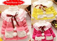 2014 New Children's Winter Coat Lace Baby Girls Outerwear winter warm Plus Velvet Thickening girls Cotton-padded Jacket