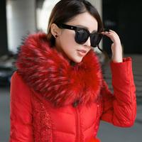 2014 thickening coat medium-long down female slim lace down coat fur collar large thermal