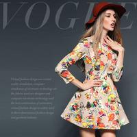 Colorful fashion dream rose print slim one-piece dress