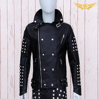 2014 New fashion leisure men leather jacket coats slim black double-breasted rivet Concert dress