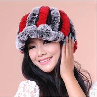 2014 female cap fur rex rabbit hair hat winter baseball cap