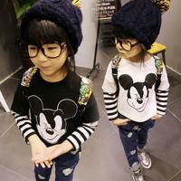 Children's clothing autumn cartoon print o-neck stripe sweatshirt faux two piece child pullover sweatshirt