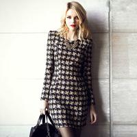 Elegant slim long-sleeve houndstooth women's one-piece dress female 6038 basic