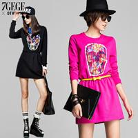 Autumn skull slim waist casual elegant long-sleeve loose basic sweatshirt one-piece dress