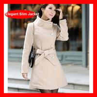 2014 New Arrival Winter Mid Length Elegant Slim Woolen Trench Jacket Coat 3 Colors 1005B