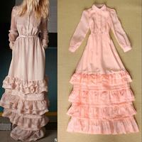 HIGH quality 2014 elegant layered dress celebrity dresses pink turn-down collar shirt ruffles prom dresses